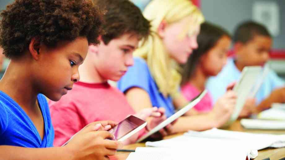 Kids using mobile technology